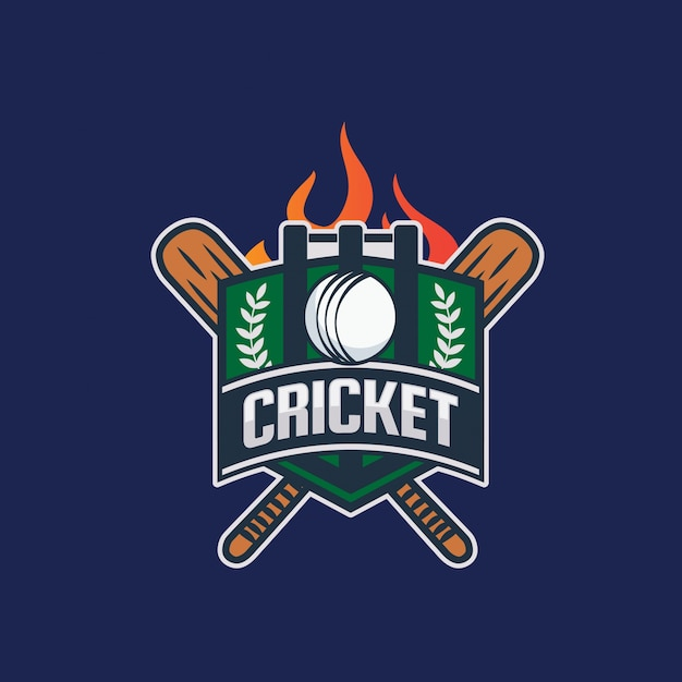 Illustration De Logo Cricket Badge Moderne Vecteur Premium