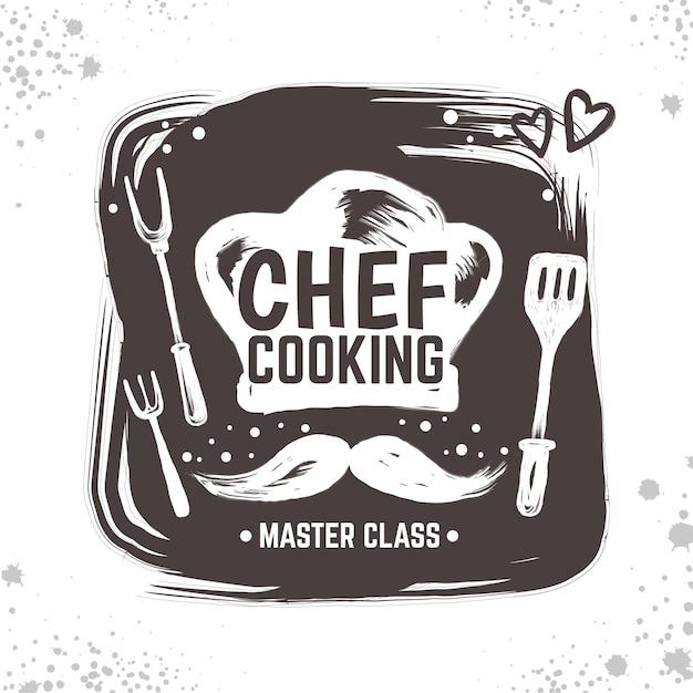 Illustration De Logo Doodle Cuisinier Vecteur Premium