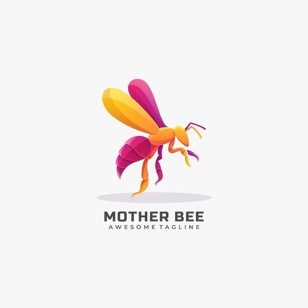 Illustration De Logo Style Coloré Dégradé Abeille Mère. Vecteur Premium