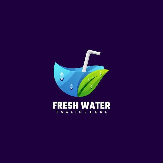 Illustration De Logo Style Coloré De Dégradé D'eau Douce. Vecteur Premium