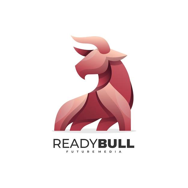 Illustration De Logo Style Coloré De Dégradé De Taureau Prêt. Vecteur Premium