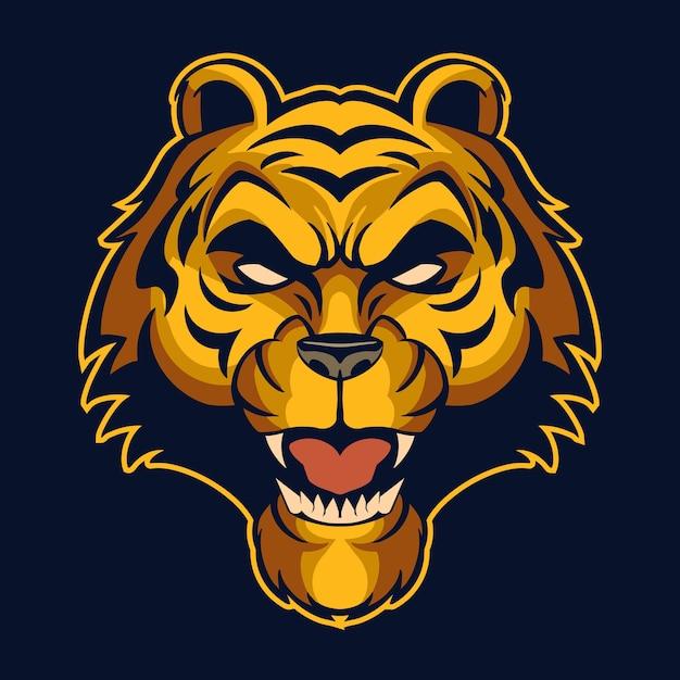 Illustration De Logo Tête De Tigre Isolée Sur Noir Vecteur Premium