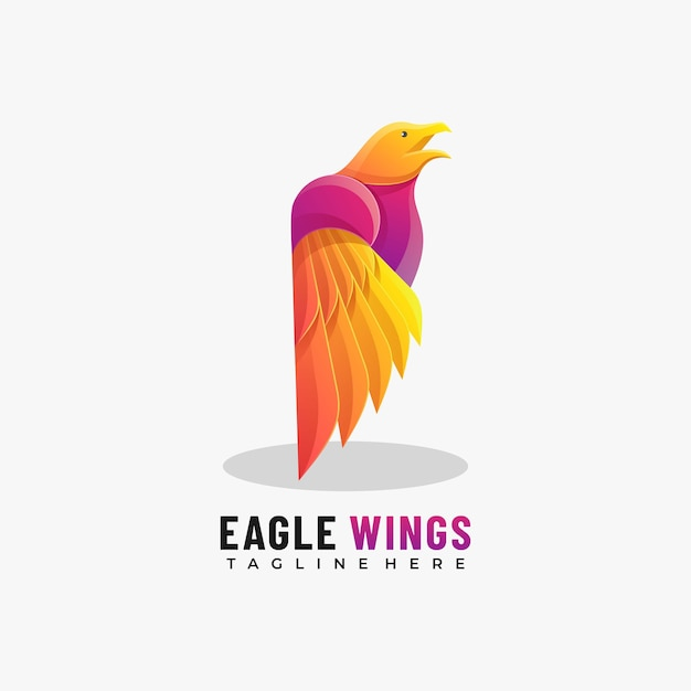 Illustration De Logo Vectoriel Eagle Wings Gradient Style Coloré. Vecteur Premium