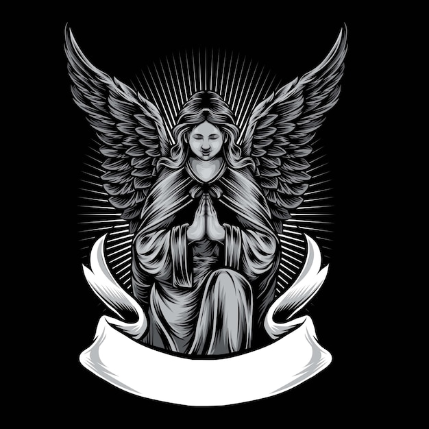 Illustration De Logo Vectoriel Statue Ange Vecteur Premium