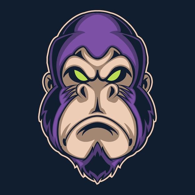 Illustration De Logo Violet Gorille Isolée Sur Noir Vecteur Premium