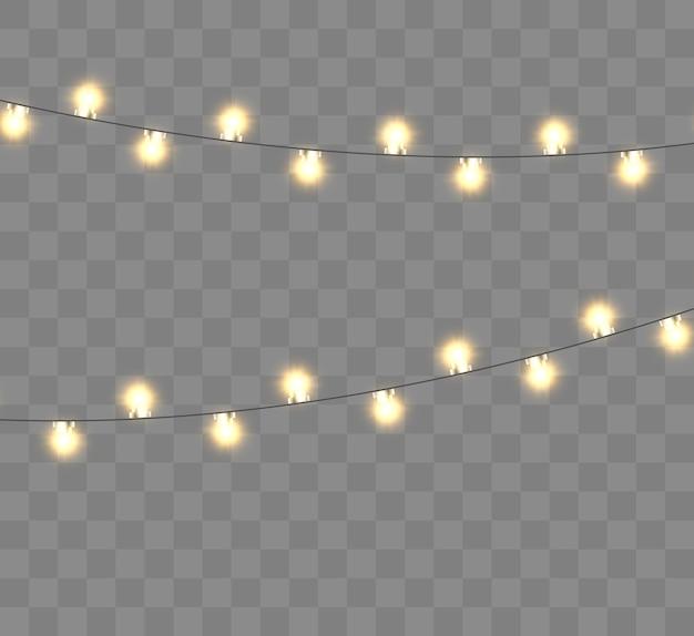 Illustration De Lumières De Noël Lumineux Belle Guirlande Du Nouvel An Vecteur Premium