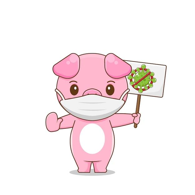 Illustration De La Lutte Contre Le Cochon Mignon Contre Le Virus Vecteur Premium