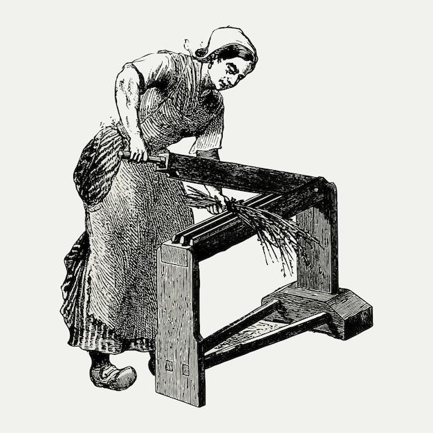 Illustration de machine vintage scutcher Vecteur gratuit