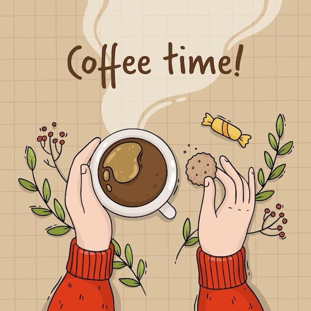 Illustration De La Main D'une Fille Avec Une Tasse De Café Et De Biscuits Vecteur Premium