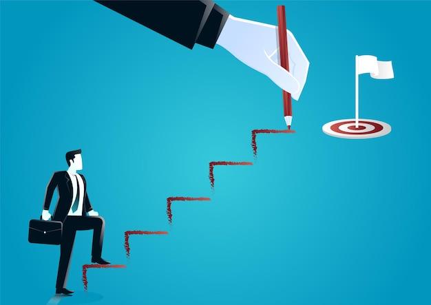 Illustration De La Main Géante Dessinant Un Escalier Avec Un Crayon Aidant L'homme D'affaires Avec Une Valise Qui Monte. Décrire L'entreprise Cible. Vecteur Premium