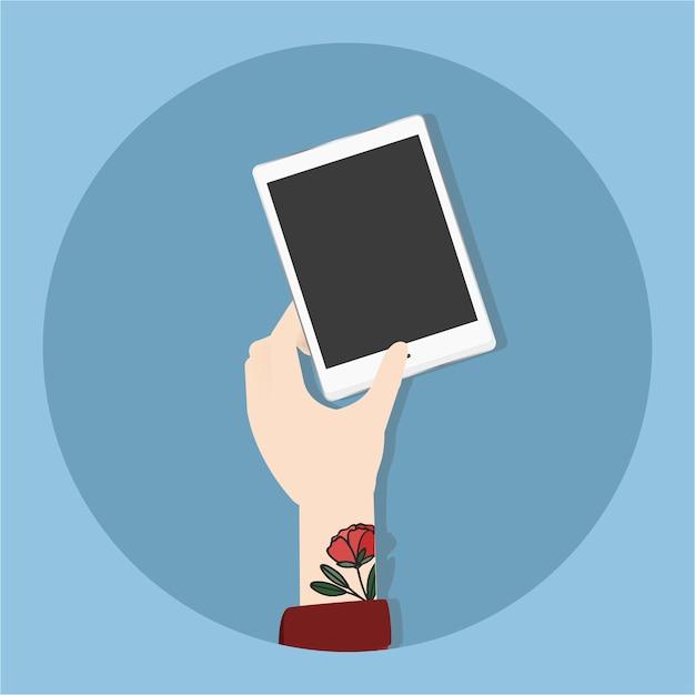 Illustration de la main qui tient le téléphone Vecteur gratuit