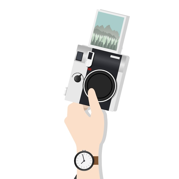 Illustration de la main tenant la caméra Vecteur gratuit