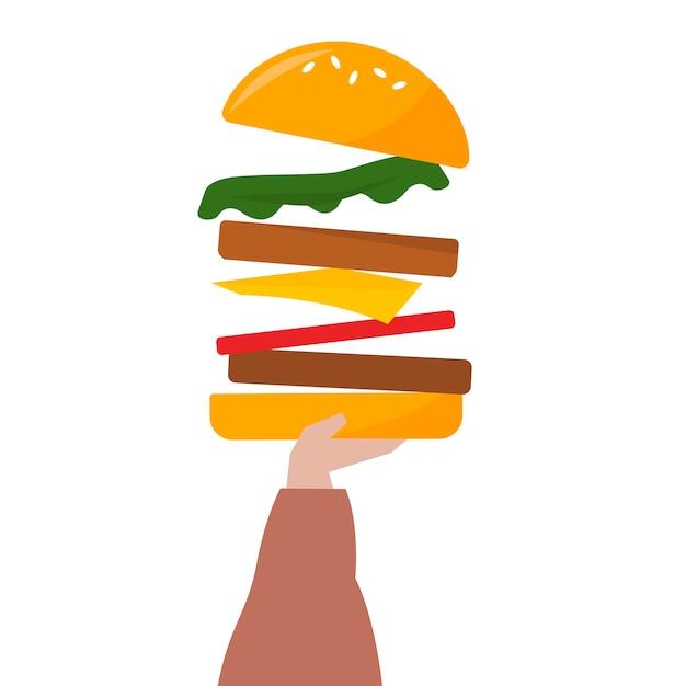 Illustration d'une main tenant un cheeseburger Vecteur gratuit