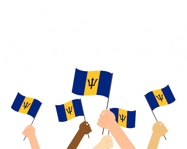Illustration mains tenant des drapeaux de la barbade Vecteur Premium