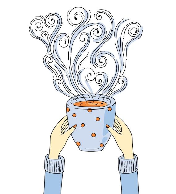 Illustration Avec Les Mains Tenant Une Tasse De Café. Vecteur Premium