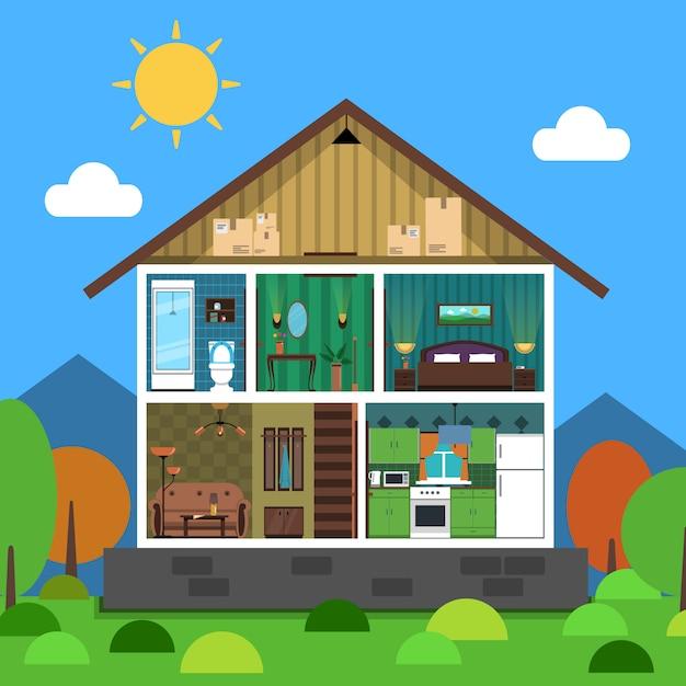Illustration de la maison intérieure Vecteur gratuit