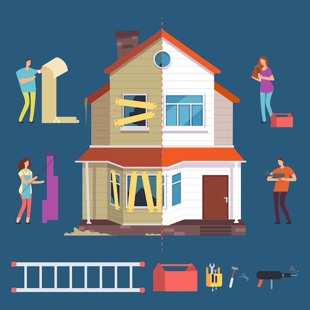 Illustration De Maison De Réparation Et De Rénovation Vecteur Premium