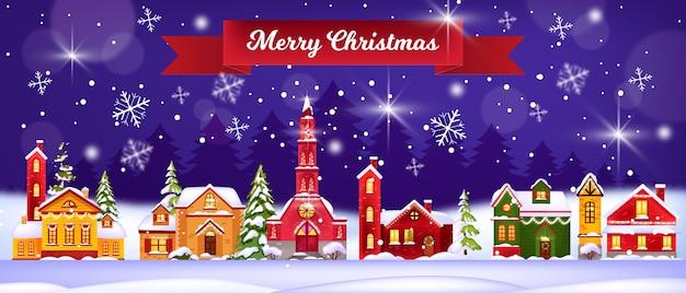 Illustration De Maisons D'hiver De Vacances De Noël Avec Village De Neige, église, Pins, Ciel Nocturne Vecteur Premium