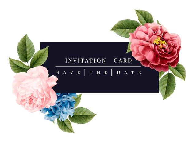 Illustration de maquette de carte d'invitation floral Vecteur gratuit