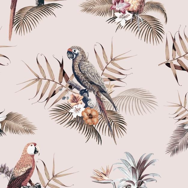 Illustration De Maquette Tropicale Macaw Vecteur gratuit