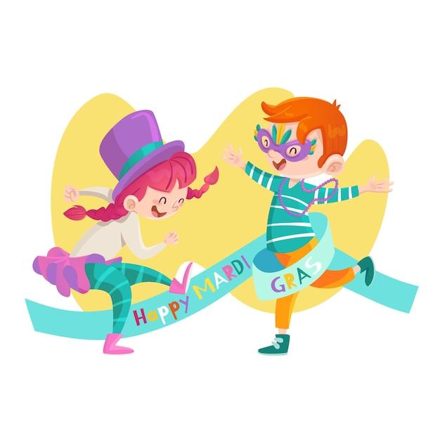 Illustration De Mardi Gras Dessiné à La Main Avec Des Enfants Vecteur gratuit