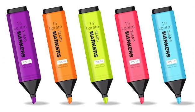 Illustration de marqueurs colorés Vecteur Premium