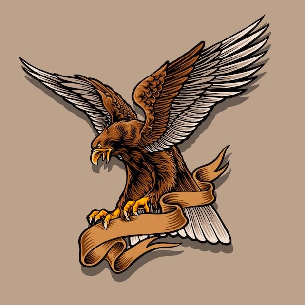 Illustration De Mascotte Aigle Vecteur Premium