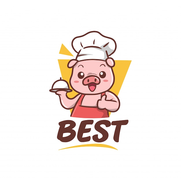 Illustration de mascotte cheapf cochon mignon Vecteur Premium
