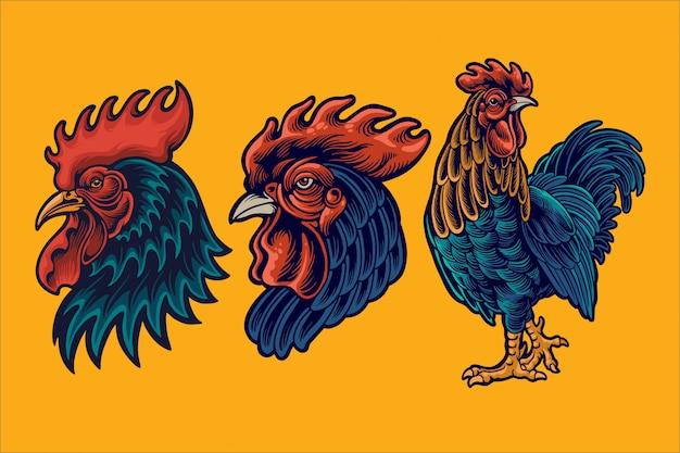 Illustration De Mascotte De Coq Vecteur Premium