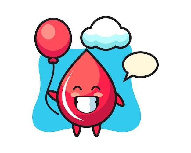 Illustration De Mascotte De Goutte De Sang Joue Au Ballon, Style Mignon, Autocollant, élément De Logo Vecteur Premium
