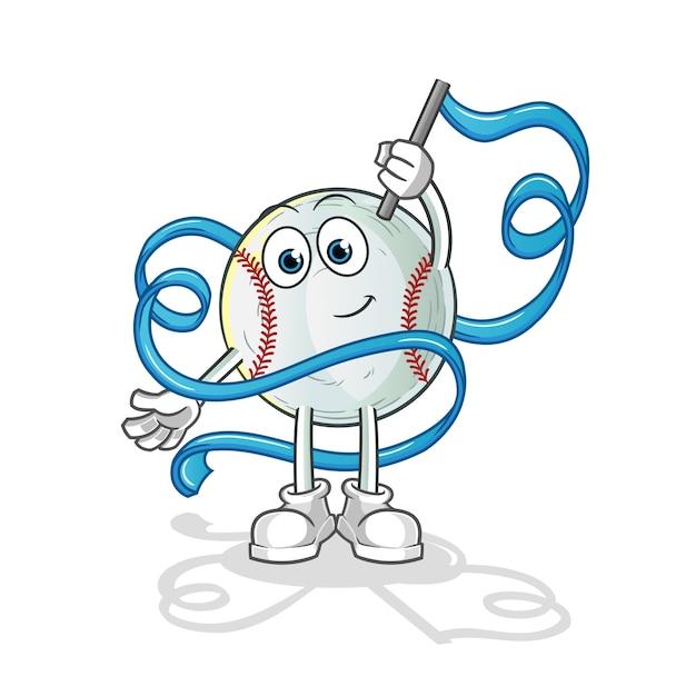 Illustration De Mascotte De Gymnastique Rythmique De Baseball Vecteur Premium