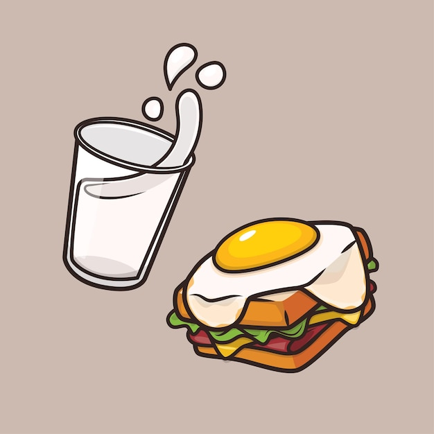 Illustration De Mascotte D'icône De Sandwich Au Lait Et Aux Oeufs De Petit Déjeuner Mignon Kawaii Vecteur Premium