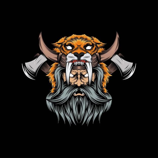 Illustration De Mascotte De Lion Viking Tête Vecteur Premium
