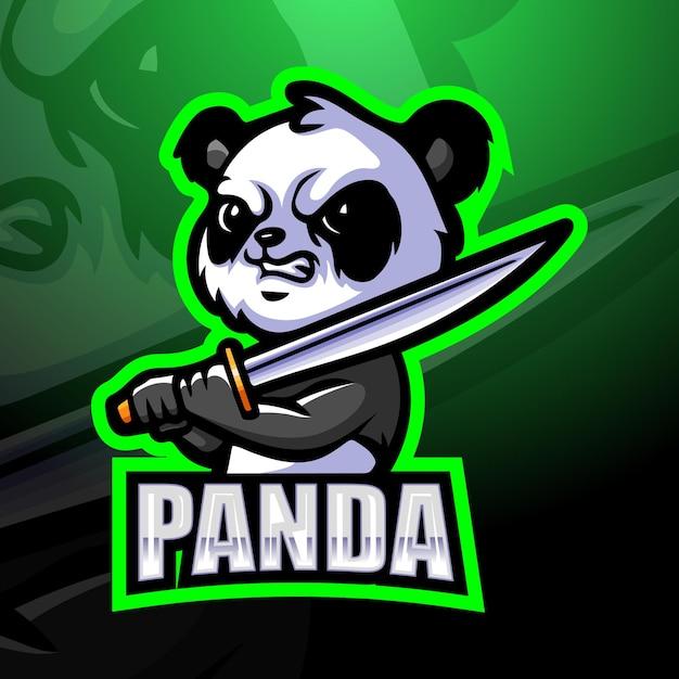 Illustration De Mascotte Panda Samouraï Vecteur Premium