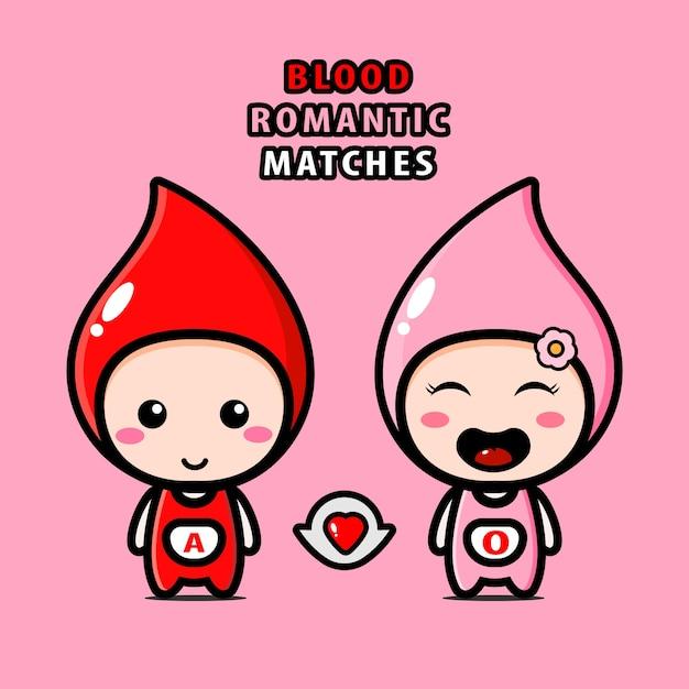 Illustration De Matchs Romantiques De Sang Dans Des Personnages Mignons Vecteur Premium