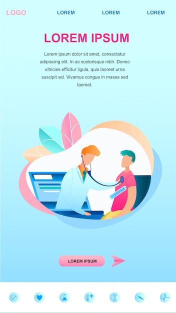 Illustration d'un médecin examine un patient en ligne Vecteur Premium
