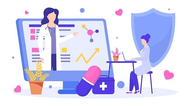 Illustration De Médecin Instruit En Ligne, Enseignement Des Mentors Scientifiques Scientifiques. Vecteur Premium