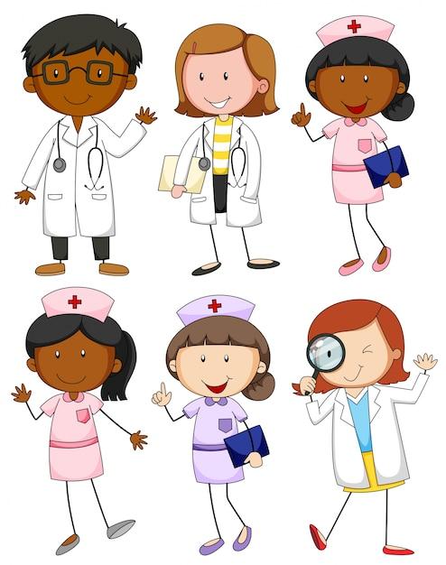 Illustration de médecins et infirmières Vecteur gratuit