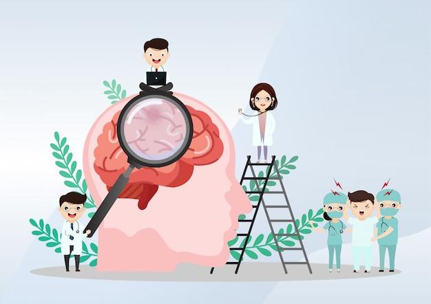 Illustration médicale scientifique de la course du cerveau humain Vecteur Premium
