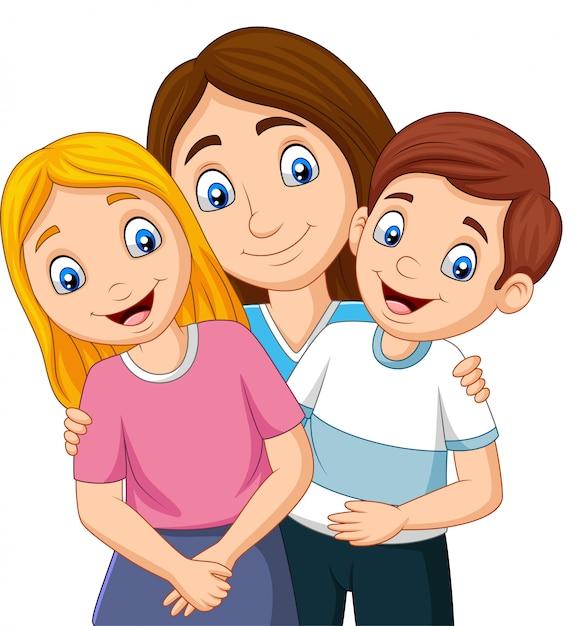 Illustration d'une mère avec fils et fille Vecteur Premium