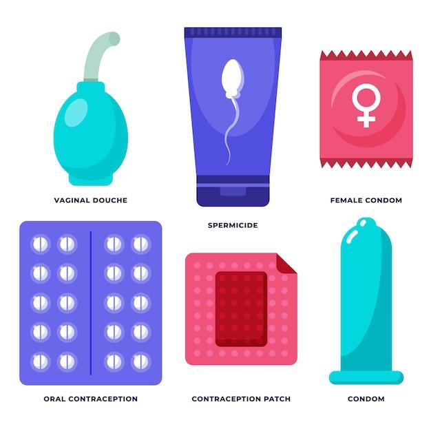 Illustration Des Méthodes De Contraception Vecteur Premium