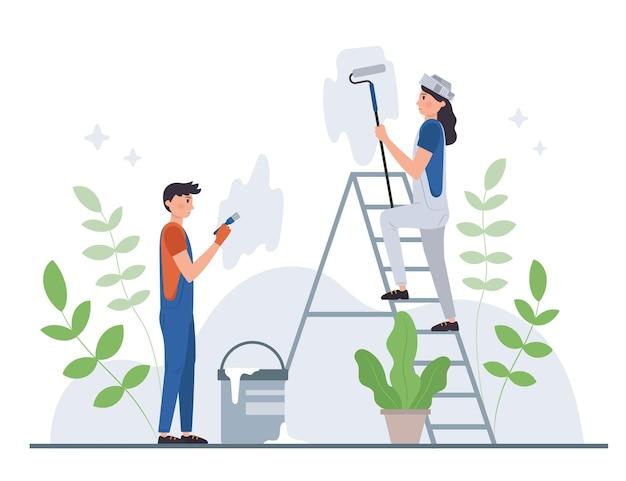 Illustration Des Métiers De La Maison Et De La Rénovation Vecteur gratuit