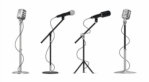 Illustration De Microphones Réalistes Vecteur Premium