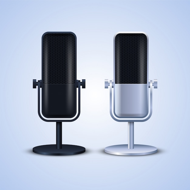 Illustration De Microphones Vecteur Premium