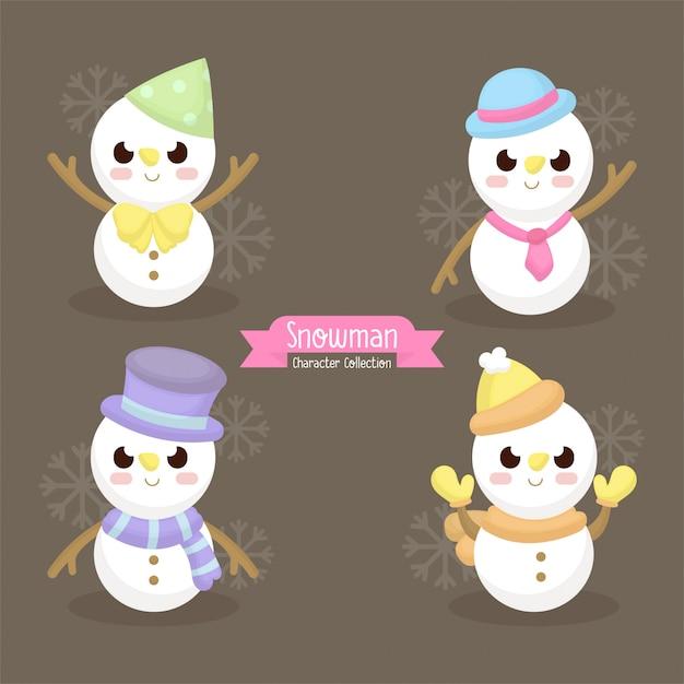 Illustration d'un mignon bonhomme de neige avec accessoires d'hiver, foulard, bonnet, gants illu Vecteur Premium