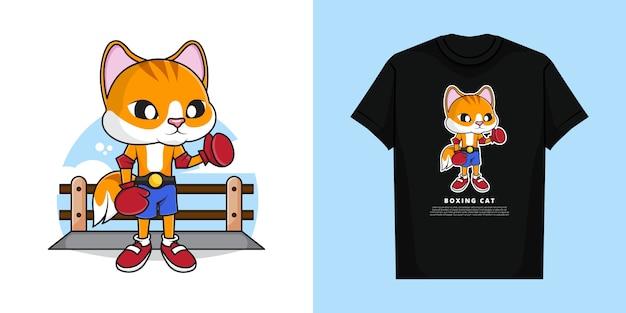 Illustration De Mignon Chat De Boxe Avec Un Design De T-shirt Vecteur Premium
