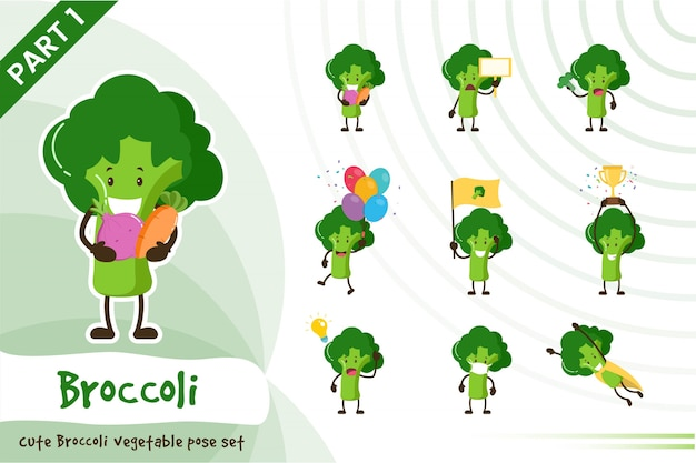 Illustration De Mignon Ensemble De Légumes Brocoli Vecteur Premium