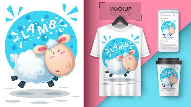 Illustration mignonne d'agneau pour le papier peint t-shirt, tasse et smartphone Vecteur Premium