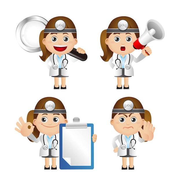 Illustration Mignonne Du Médecin Avec Divers Objets Vecteur Premium