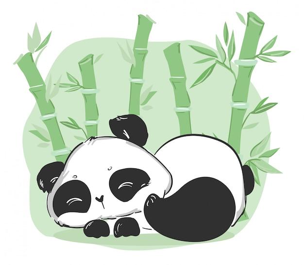 Illustration Mignonne De Panda Et De Bambou. Personnage De Dessin Animé. Vecteur Premium